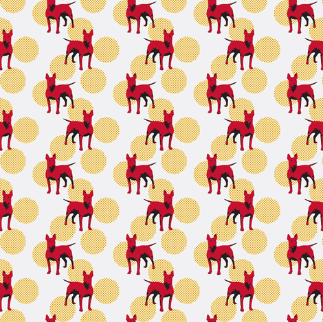 Red dogs on dotted dots fabric by susiprint on Spoonflower - custom fabric