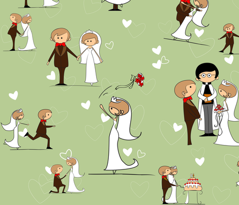 You may now kiss the bride fabric by kittenstitches on Spoonflower - custom fabric