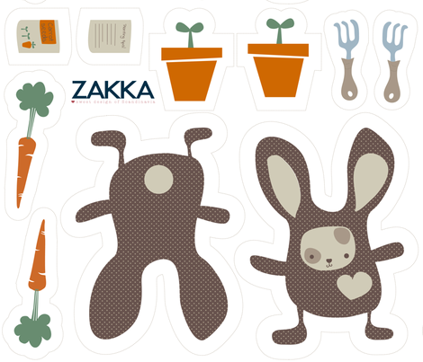 FQ - Springtime Bunny, zakka style fabric by zakkasweetdesign on Spoonflower - custom fabric