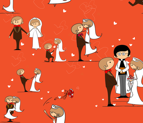 You may now kiss the bride, Tangerine Tango fabric by kittenstitches on Spoonflower - custom fabric