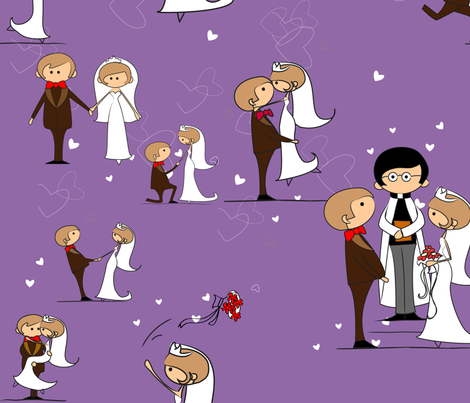 You may now kiss the bride, Bellflower purple fabric by vicky_s on Spoonflower - custom fabric