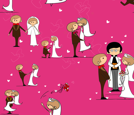 You may now kiss the bride, Cabaret Pink fabric by vicky_s on Spoonflower - custom fabric