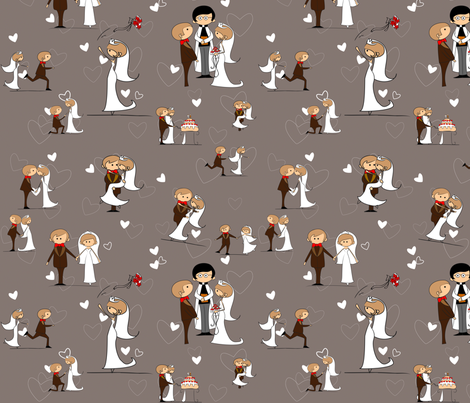 You may now kiss the bride, Driftwood Grey fabric by kittenstitches on Spoonflower - custom fabric