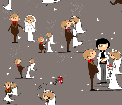 You may now kiss the bride, Driftwood Grey fabric by vicky_s on Spoonflower - custom fabric