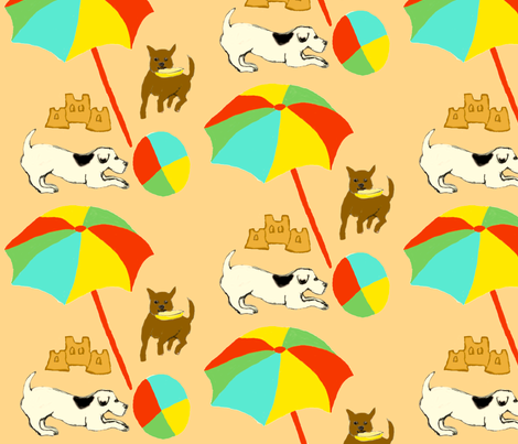 Dog Day at the Beach fabric by trishadstudio on Spoonflower - custom fabric