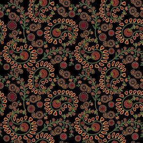 Bold large-scale paisley on black
