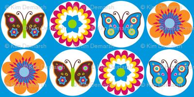 Flowers Butterflies Circles On Blue