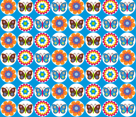 Flowers Butterflies Circles On Blue fabric by stitchwerxdesigns on Spoonflower - custom fabric