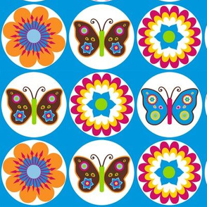 Flowers Butterflies Circles On Blue