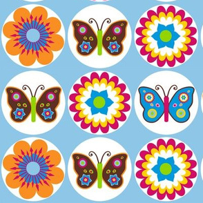 Flowers Butterflies In Circles On Light Blue