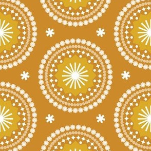 Bandana* (Gold Seal) || scarf handkerchief stars starburst circles flowers fireworks geometric sun sunshine summer mandala