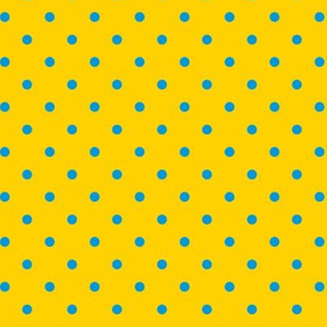 Blue polka dots on yellow