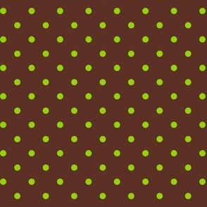 Green Polka Dots on Brown
