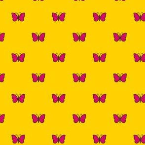 Pink Butterflies on Yellow
