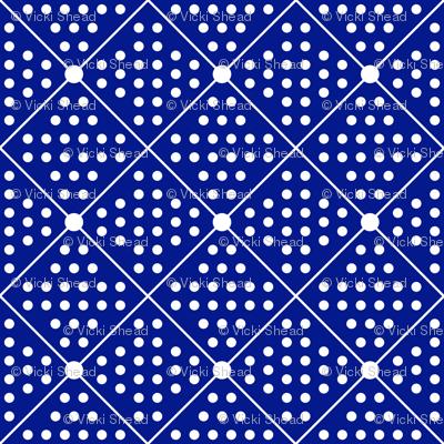 Navy dots and diamonds