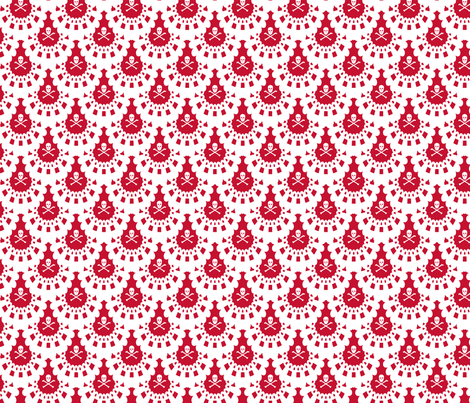 White Skull and Crossbones Lace White on red fabric by littlemisscrow on Spoonflower - custom fabric