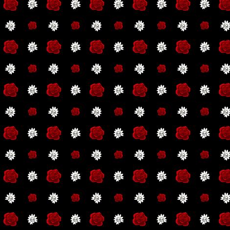 Red Roses with Skull Daisies fabric by littlemisscrow on Spoonflower - custom fabric