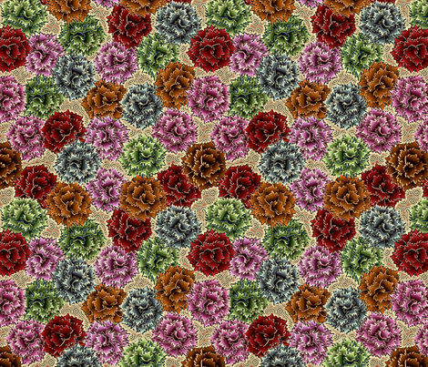 Mixed_Carnations Wild Time fabric by glimmericks on Spoonflower - custom fabric