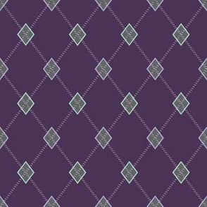 Mini Argyle: Purple, Charcoal, Mint Green