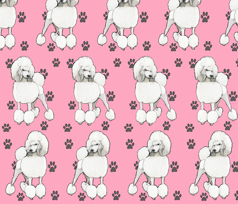 Poodles In Pink fabric by dogdaze_ on Spoonflower - custom fabric