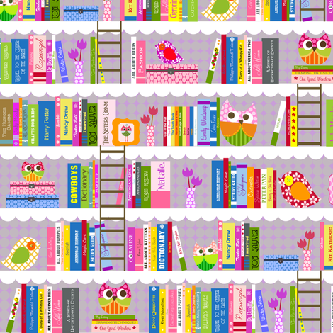 Natalie's Library in Lavender fabric by natitys on Spoonflower - custom fabric