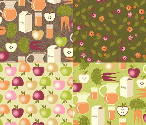 Sweet Apples and Carrot Juice  - Green coordinates fabric by inscribed_here on Spoonflower - custom fabric