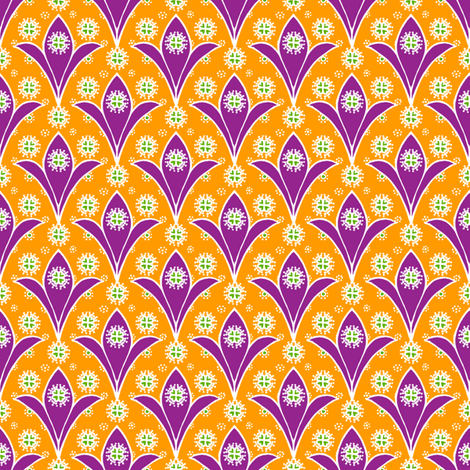 Kite Garden Purple Lily fabric by siya on Spoonflower - custom fabric
