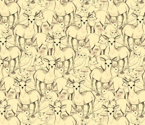 Woodland (Cream Background) fabric by lydia_meiying on Spoonflower - custom fabric