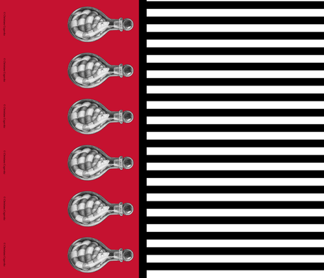 Snake Vial Border on Red with Black and White Stripe fabric by littlemisscrow on Spoonflower - custom fabric