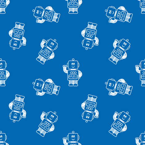 Ditsy Mr Mikey Dk Blue fabric by shelleymade on Spoonflower - custom fabric