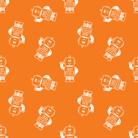 Ditsy Mr Mikey Orange fabric by shelleymade on Spoonflower - custom fabric