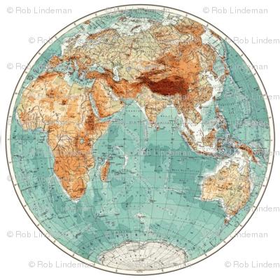 Vintage Eastern Hemisphere Globe Decal