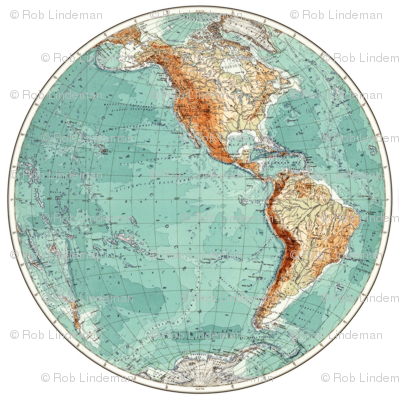 Vintage Western Hemisphere Globe Decal