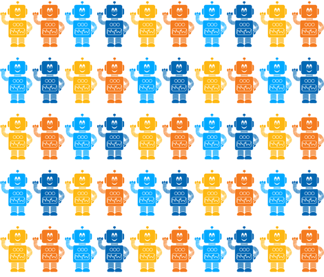 Robot Row V2.1 fabric by shelleymade on Spoonflower - custom fabric