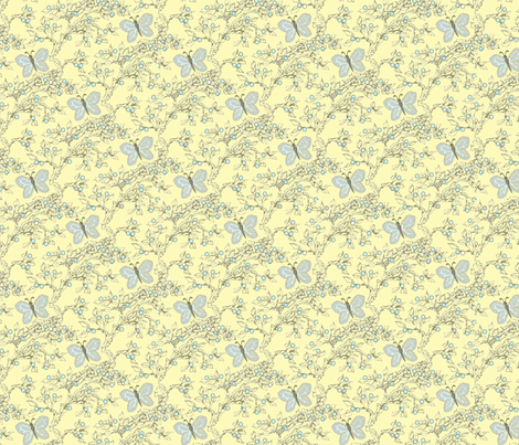 berries_and_branches_lemon_creme2 fabric by glimmericks on Spoonflower - custom fabric