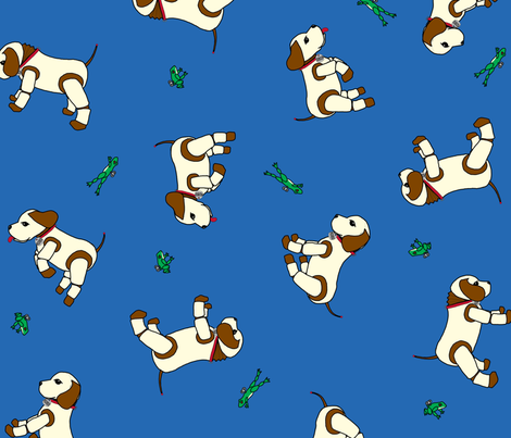 robo_puppy_and_the_mechanical_frog_blue fabric by victorialasher on Spoonflower - custom fabric