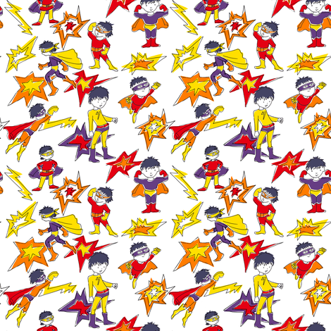 Super Hero - white fabric by woodledoo on Spoonflower - custom fabric