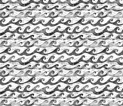 wave in black & white fabric by sodabyamy on Spoonflower - custom fabric