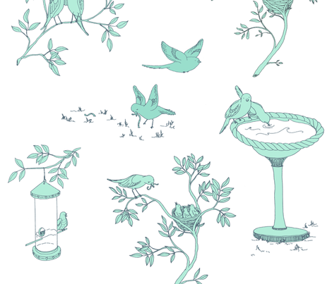 Lovebird Toile - Blue fabric by sodabyamy on Spoonflower - custom fabric