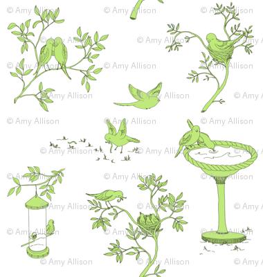 Lovebird Toile - Green