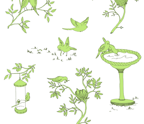 Lovebird Toile - Green fabric by sodabyamy on Spoonflower - custom fabric