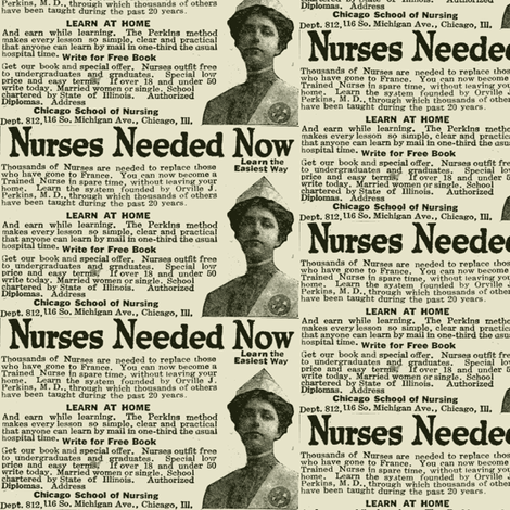 Nurses Needed for World War 1 scrubs fabric
