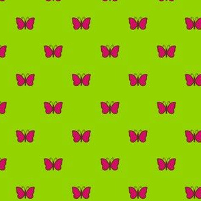 Pink butterflies on green