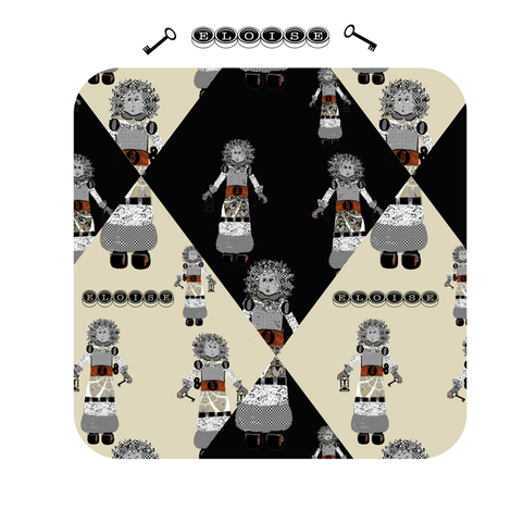 Eloise Robot and her Keys fabric by karenharveycox on Spoonflower - custom fabric