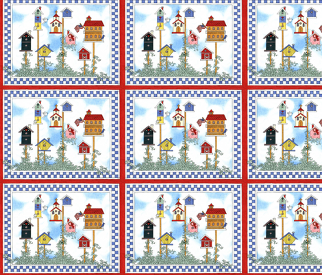 BIRD VILLAGE fabric by bluevelvet on Spoonflower - custom fabric