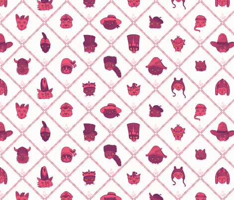 Cats in Hats magenta version fabric by caitlinclarkson on Spoonflower - custom fabric
