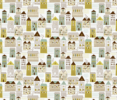 urban pattern fabric by inbirdhouse on Spoonflower - custom fabric