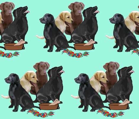 labrador retriever puppies and toys fabric by dogdaze_ on Spoonflower - custom fabric