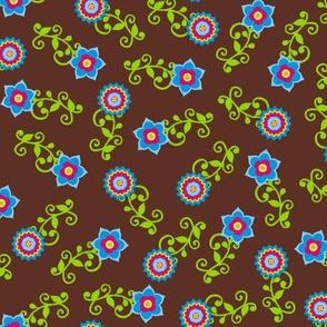 Ditsy flower pattern on brown