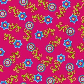 Ditsy flower pattern on pink
